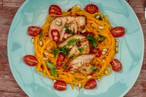 Chicken and Spiralized Butternut Squash Salad with Sesame Dressing
