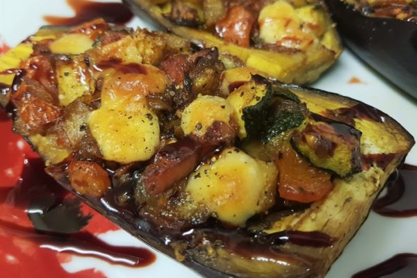 Aubergines filled with Pisto and Manchego